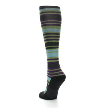 Image of Lime Aqua Stripe Wool Women's Knee High Socks (side-2-back-15)