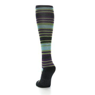 Image of Lime Aqua Stripe Wool Women's Knee High Socks (side-2-back-16)