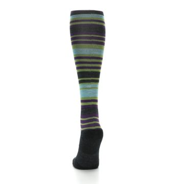 Image of Lime Aqua Stripe Wool Women's Knee High Socks (back-17)