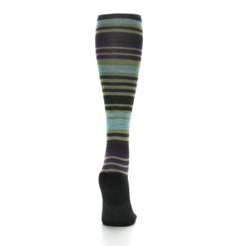 Image of Lime Aqua Stripe Wool Women's Knee High Socks (back-19)