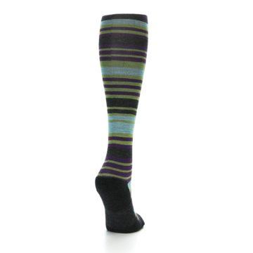 Image of Lime Aqua Stripe Wool Women's Knee High Socks (side-1-back-20)