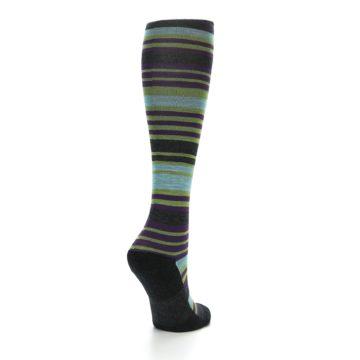 Image of Lime Aqua Stripe Wool Women's Knee High Socks (side-1-back-21)
