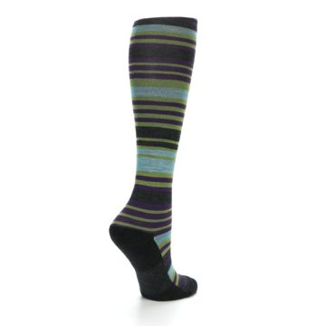Image of Lime Aqua Stripe Wool Women's Knee High Socks (side-1-back-22)