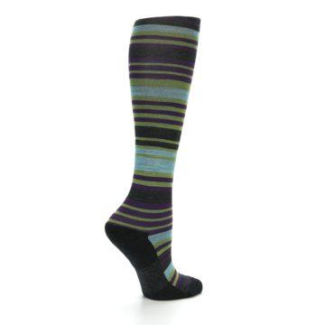 Image of Lime Aqua Stripe Wool Women's Knee High Socks (side-1-23)