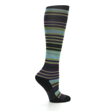 Image of Lime Aqua Stripe Wool Women's Knee High Socks (side-1-24)