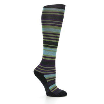 Image of Lime Aqua Stripe Wool Women's Knee High Socks (side-1-25)