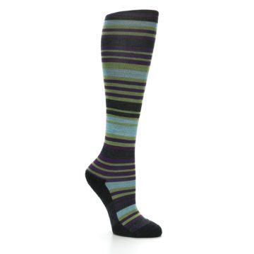 Image of Lime Aqua Stripe Wool Women's Knee High Socks (side-1-26)