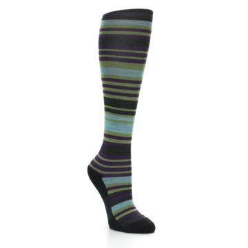 Image of Lime Aqua Stripe Wool Women's Knee High Socks (side-1-27)