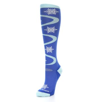 Image of Powder Blue Snowflake Wool Women's Knee High Ski Socks (side-2-front-08)