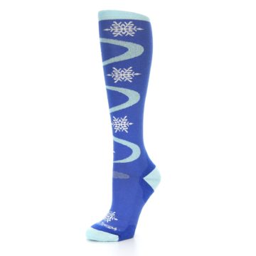 Image of Powder Blue Snowflake Wool Women's Knee High Ski Socks (side-2-09)