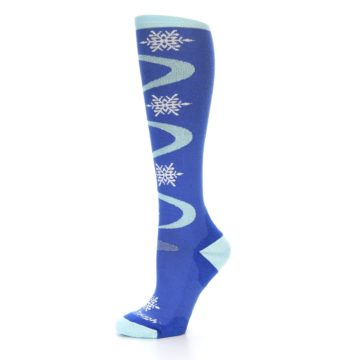 Image of Powder Blue Snowflake Wool Women's Knee High Ski Socks (side-2-10)