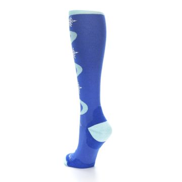 Image of Powder Blue Snowflake Wool Women's Knee High Ski Socks (side-2-back-15)