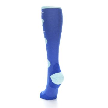 Image of Powder Blue Snowflake Wool Women's Knee High Ski Socks (side-2-back-16)