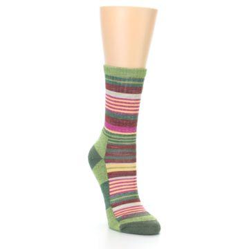 Image of Green Pink Stripe Hiking Wool Women's Socks (side-1-front-02)