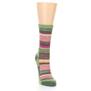Image of Green Pink Stripe Hiking Wool Women's Socks (side-1-front-03)