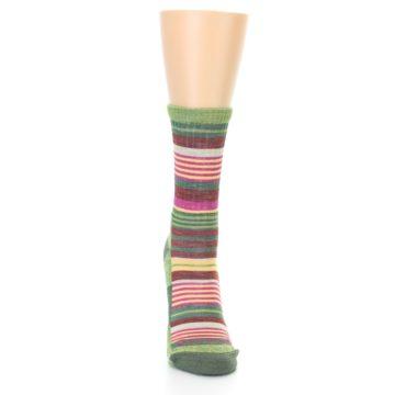 Image of Green Pink Stripe Hiking Wool Women's Socks (front-04)