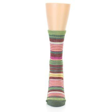 Image of Green Pink Stripe Hiking Wool Women's Socks (front-05)