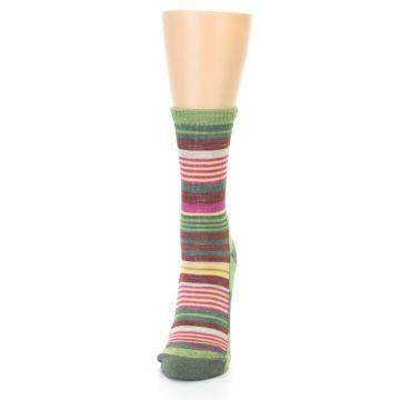 Image of Green Pink Stripe Hiking Wool Women's Socks (side-2-front-06)