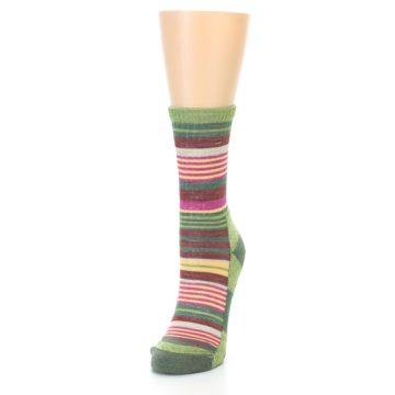 Image of Green Pink Stripe Hiking Wool Women's Socks (side-2-front-07)