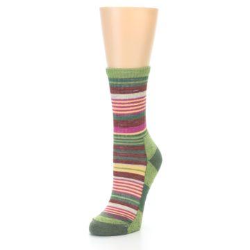 Image of Green Pink Stripe Hiking Wool Women's Socks (side-2-front-08)
