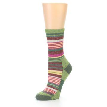 Image of Green Pink Stripe Hiking Wool Women's Socks (side-2-09)