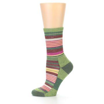 Image of Green Pink Stripe Hiking Wool Women's Socks (side-2-11)