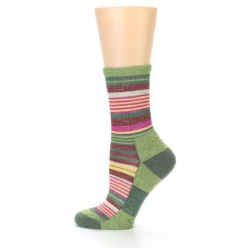 Image of Green Pink Stripe Hiking Wool Women's Socks (side-2-12)