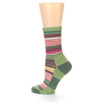 Image of Green Pink Stripe Hiking Wool Women's Socks (side-2-13)
