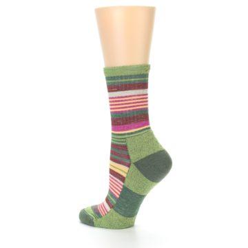 Image of Green Pink Stripe Hiking Wool Women's Socks (side-2-back-14)