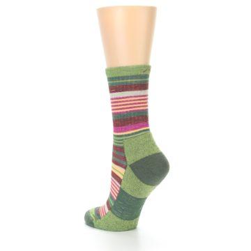 Image of Green Pink Stripe Hiking Wool Women's Socks (side-2-back-15)