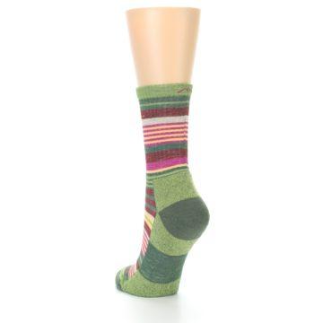 Image of Green Pink Stripe Hiking Wool Women's Socks (side-2-back-16)