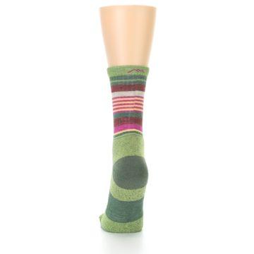 Image of Green Pink Stripe Hiking Wool Women's Socks (back-18)
