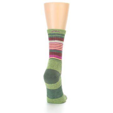 Image of Green Pink Stripe Hiking Wool Women's Socks (side-1-back-20)
