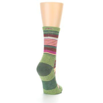 Image of Green Pink Stripe Hiking Wool Women's Socks (side-1-back-21)