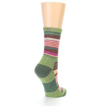 Image of Green Pink Stripe Hiking Wool Women's Socks (side-1-back-22)