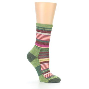 Image of Green Pink Stripe Hiking Wool Women's Socks (side-1-26)