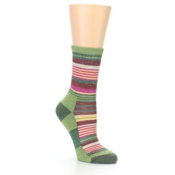 Image of Green Pink Stripe Hiking Wool Women's Socks (side-1-27)
