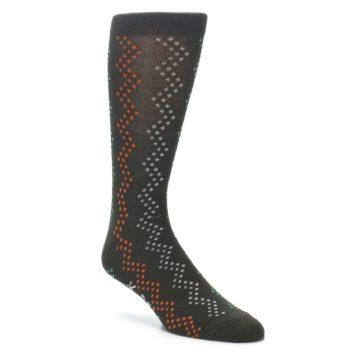 Image of Brown Zig-Zag Dots Men's Dress Socks (side-1-front-01)