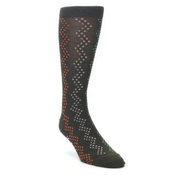 Image of Brown Zig-Zag Dots Men's Dress Socks (side-1-front-02)