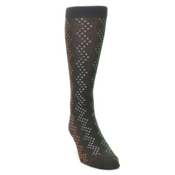 Image of Brown Zig-Zag Dots Men's Dress Socks (side-1-front-03)