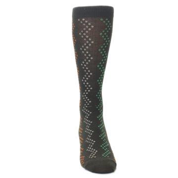 Image of Brown Zig-Zag Dots Men's Dress Socks (front-04)