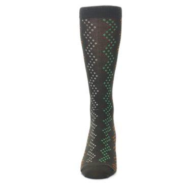 Image of Brown Zig-Zag Dots Men's Dress Socks (front-05)