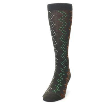 Image of Brown Zig-Zag Dots Men's Dress Socks (side-2-front-06)
