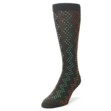 Image of Brown Zig-Zag Dots Men's Dress Socks (side-2-front-07)