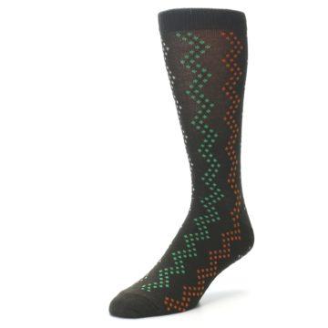 Image of Brown Zig-Zag Dots Men's Dress Socks (side-2-front-08)