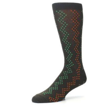 Image of Brown Zig-Zag Dots Men's Dress Socks (side-2-09)