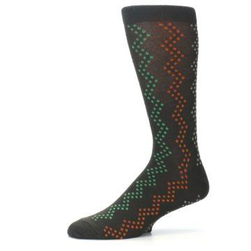 Image of Brown Zig-Zag Dots Men's Dress Socks (side-2-10)