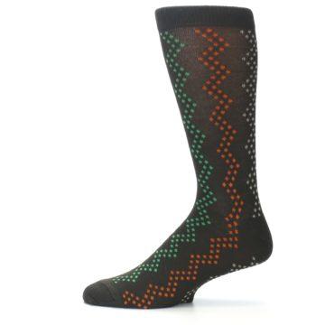 Image of Brown Zig-Zag Dots Men's Dress Socks (side-2-11)