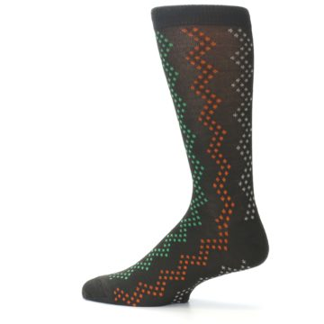 Image of Brown Zig-Zag Dots Men's Dress Socks (side-2-12)