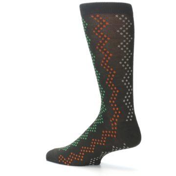 Image of Brown Zig-Zag Dots Men's Dress Socks (side-2-13)